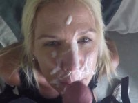 Blonde is cumshot in her mouth