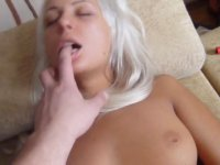 Blonde is sucking and masturbating