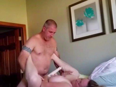 Titty fuckng my bbw wife