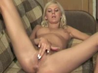 Naughty blonde gives an amazing solo tease show