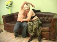 Blonde old lady loves young dick