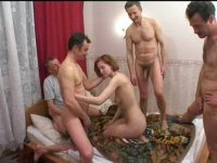 Hot sexy nymph and three excited men