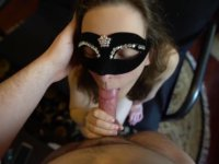 Slender masked babe gives blowjob and gets fucked in doggy style