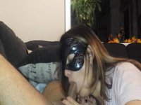 homemade masked wifey sucking dick