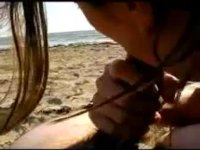 Gorgeous blowjob on the beach