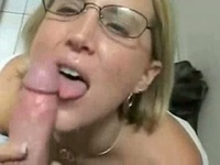 So pretty blonde milf wife with glasses make a hell of a blowjob order by him